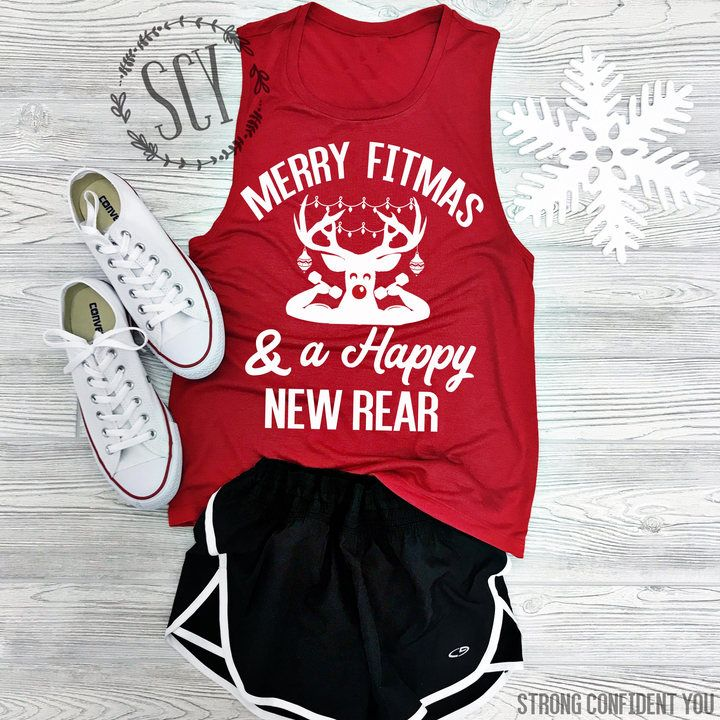 fff11a0ab Etsy Merry Fitmas and a Happy New Rear - Muscle Tank - Gym Tank - Holiday  Workout Shirt - Christmas Tank