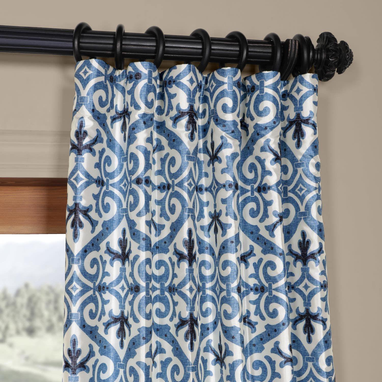 Iron Gate Blue Printed Faux Silk Taffeta Blackout Curtain Cool Curtains Blue And Gold Curtains Curtains
