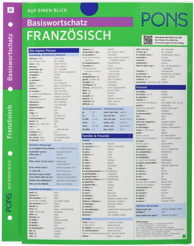 Pons Basiswortschatz Auf Einen Blick Franzosisch Kompakte Ubersicht Ca 1 000 Worter Nach Themen Sortiert Pons Auf E Auf Einen Blick Franzosisch Lesen Lernen