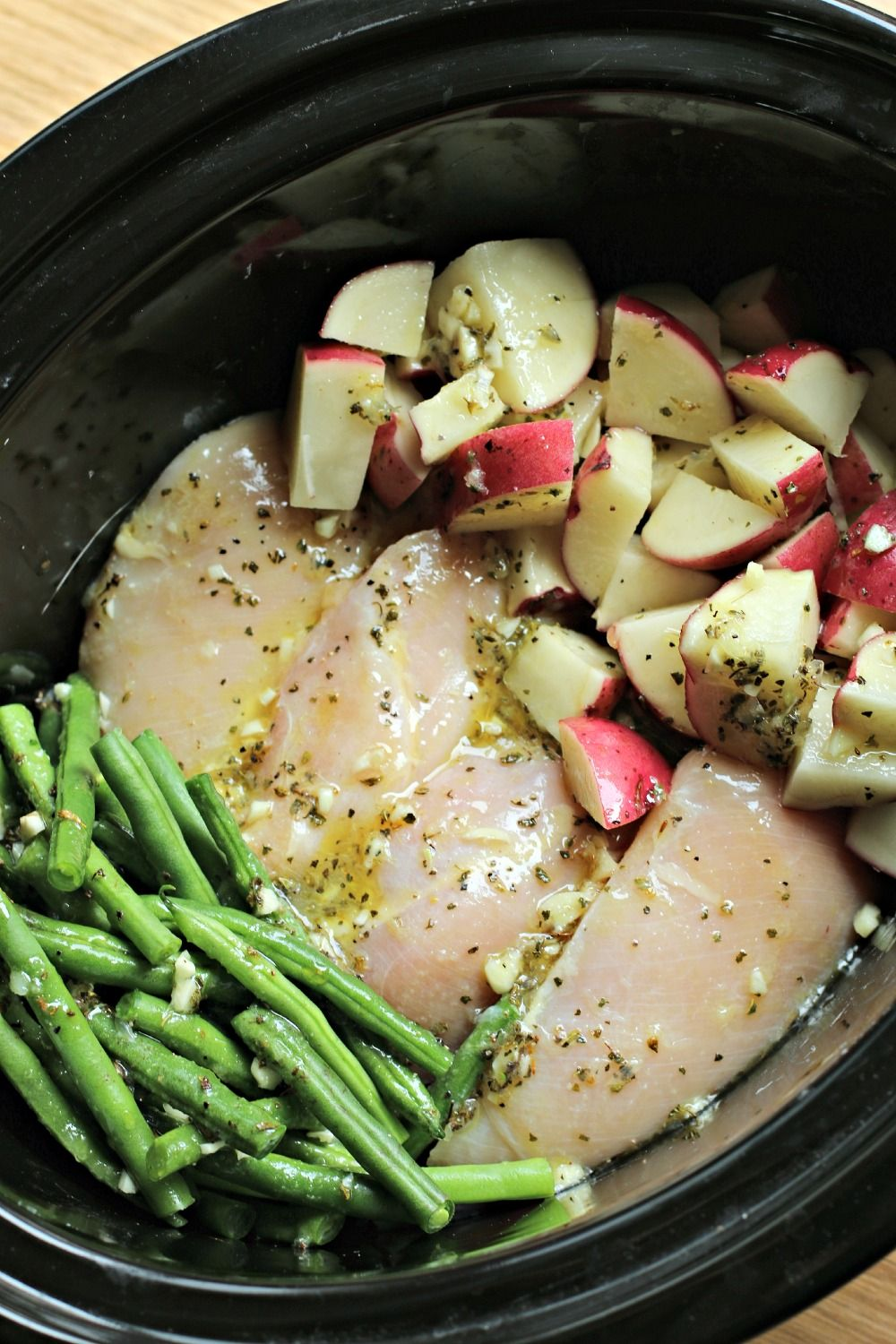 Slow Cooker Seasoned Chicken Potatoes And Green Beans