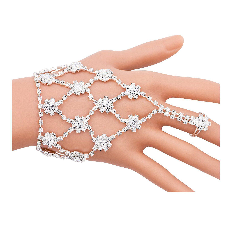 Boosic Wedding Accessory Rhinestone Finger Ring Bracelet For Women