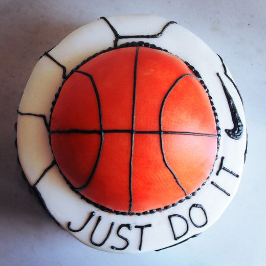 Have fun with sports lovers cake by Whatever's Left  #cake #nike #chocolate #football #basketball #edible-art