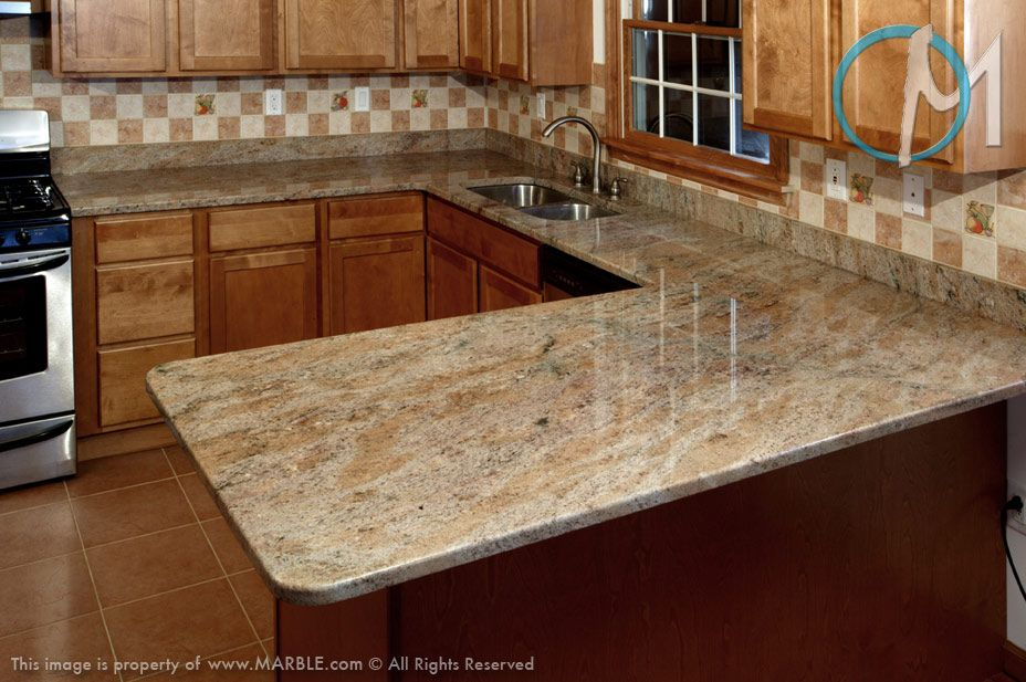 This U Shaped Countertop Uses Golden Rock Granite And