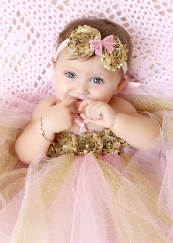 Hello Baby Baby Girls Pink Tutu Skirt With Gold Tulle and Headdress For 1st New