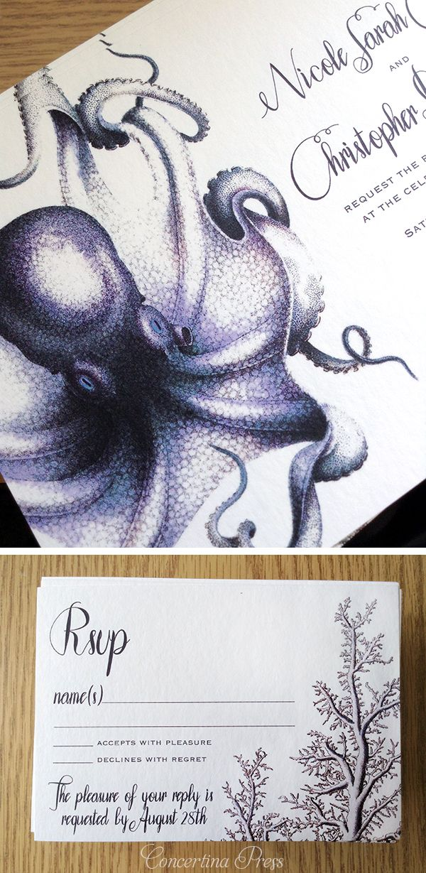 sister marriage invitation letter format%0A navy octopus wedding invitation for an aquarium wedding from Concertina  Press