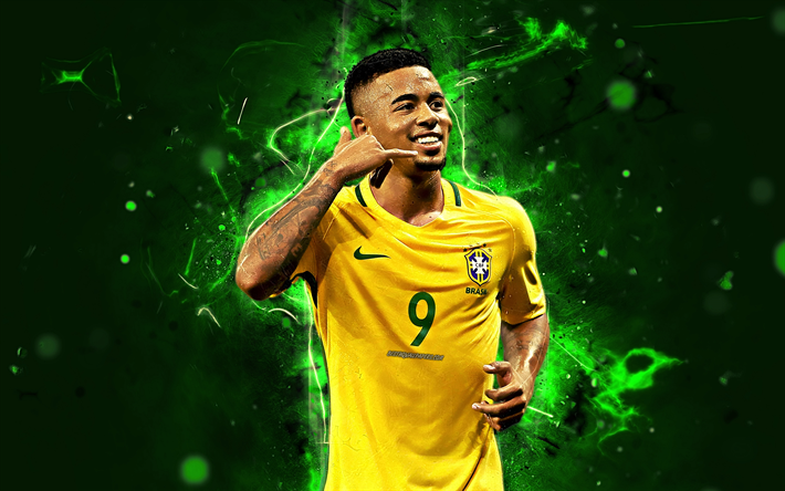 Download Wallpapers Gabriel Jesus Abstract Art Brazil National Team Football Soccer Jesus Neon Lights Brazilian Football Team Besthqwallpapers Com Football Wallpaper Pop Art Canvas Soccer