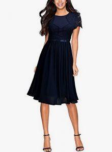miusol damen abendkleid sommer chiffon festlich kleid cocktailkleid vinatge kleider blau grs