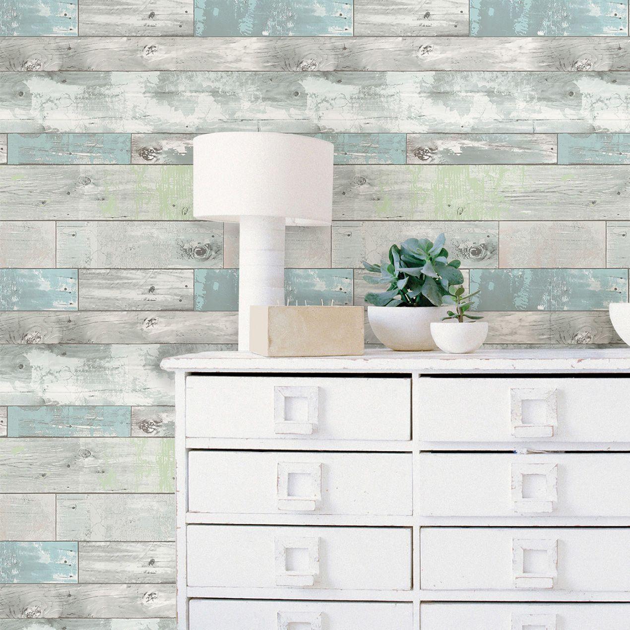Wallpops Beachwood Grey L Stick Wallpaper 5 5m W 52cm