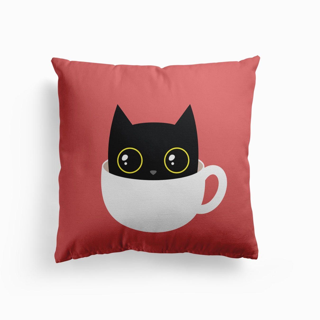Coffee Cat Cushion In 2020 Cat Throw Pillow Cat Themed Bedroom Kitten Pillow