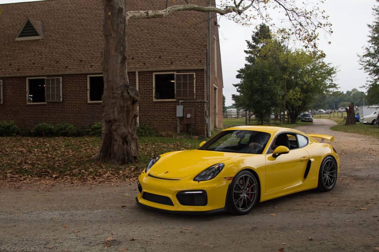 Porsche Cayman GT4 painted in Racing Yellow Photo taken by: @thepaganikid on Instagram