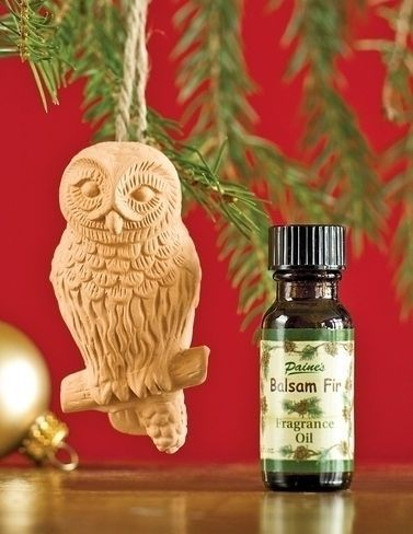 Balsam Essential Oil, 2 oz. Hang this petite owl ornament on your tree and let it fill the air with the irresistible aroma of fresh-cut balsam, even if you have a faux tree. The terra cotta diffuser comes with 1/2 ounce of balsam oil in an attractive gift box.
