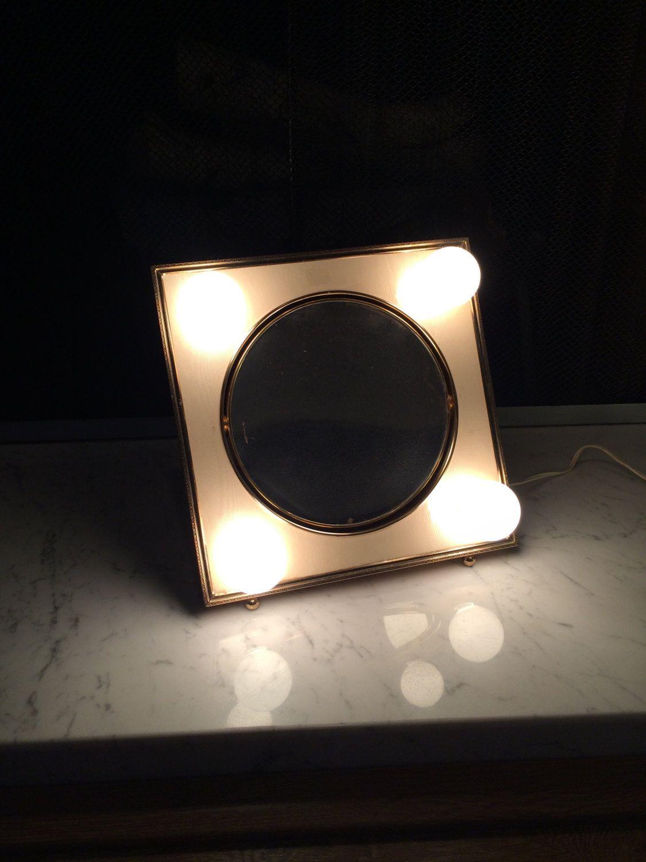 Vintage vanity mirror with lights ivory u gold hollywood regency