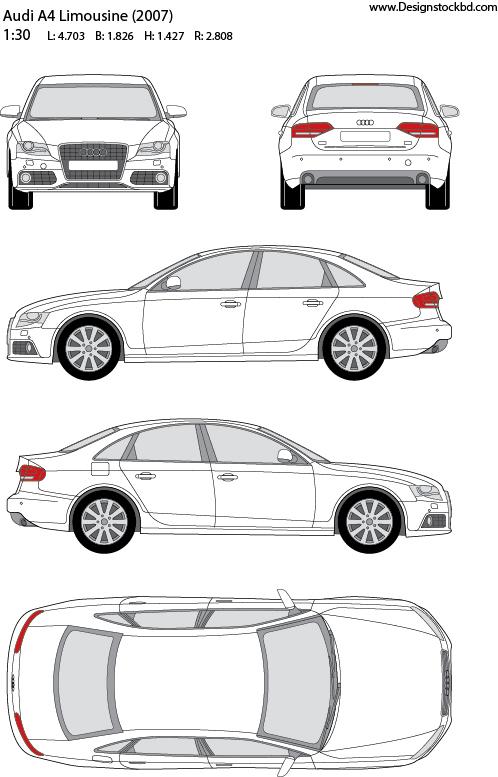 Audi A4 Limousine 2007 Car Template Blueprint Outline Designstockbd Com Audi A4 Audi Limousine
