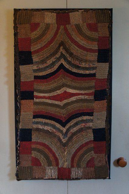 Antique rag sewn rug circa 1860, Great folk art Rug Hooking