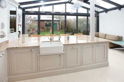 Lean To Glass Kitchen Living Room Extension With Breakfast Bar