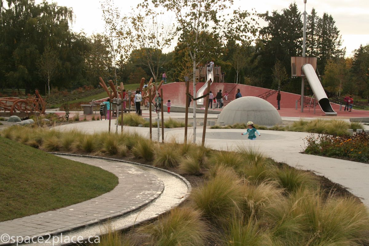water channel and grasses at garden city playground | Richmond BC ...
