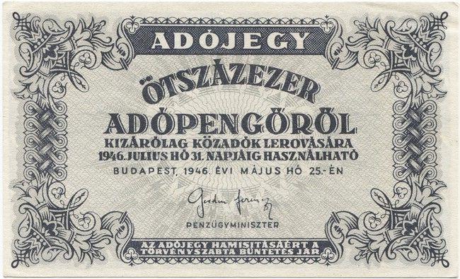 500000 Adópengö 1946 (Ötszázezer)