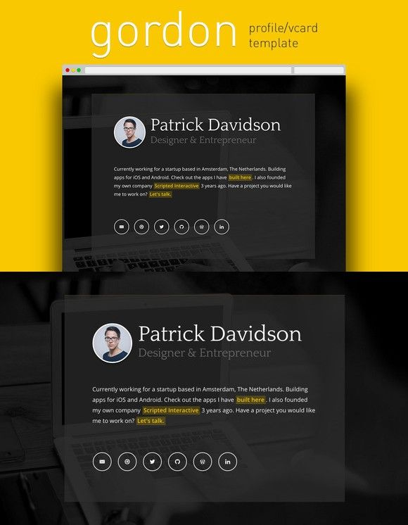 Gordon Profile Vcard Template Templates Html Css Card Layout