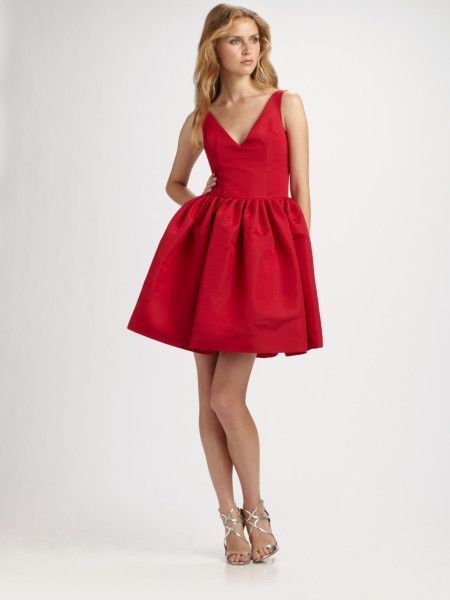 Chloe Reese Red Silk Faille Vneck Party Dress