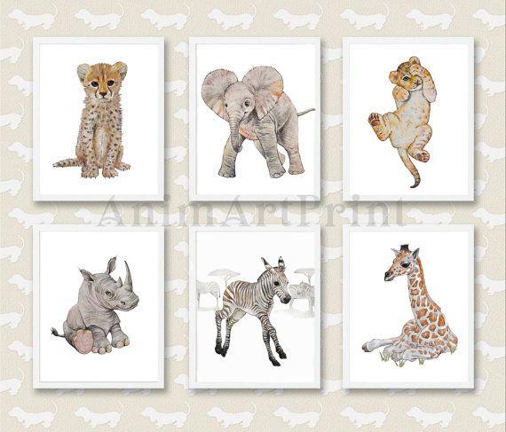 Boy/'s Room Decor Nursery Animal Print Watercolor Animal Prints Safari Nursery Decor Baby Boy Nursery Wall Art Elephant Giraffe Digital
