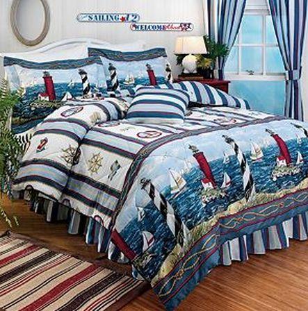 Sail Boat Stripe Red Blue Beach Ocean Comforter Set Twin Comforter Sets Beach Theme Decor Twin Comforter Sets