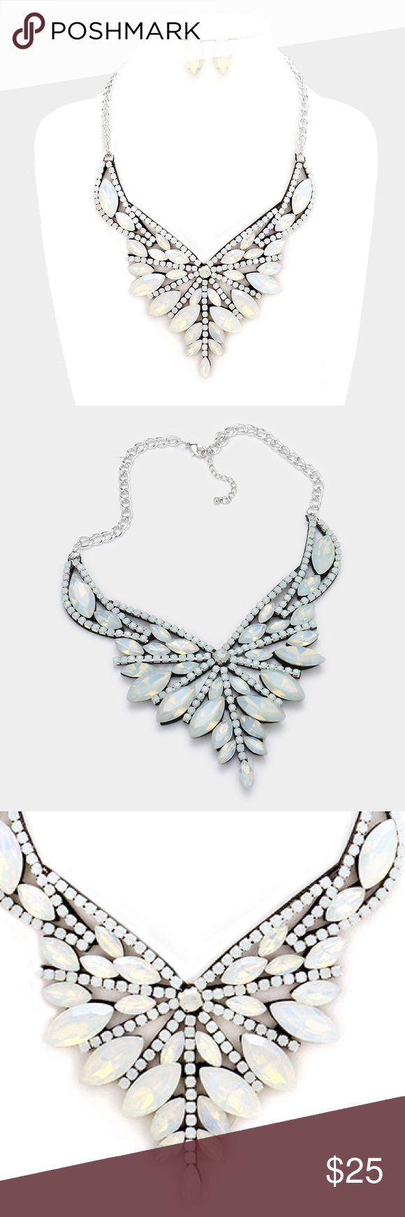 "Crystal Statement Necklace Set • Necklace Size : 18"" + 2"" L • Decor Size : 3"" L • Earrings Size : 1.2"" L • Felt back marquise crystal rhinestone statement evening necklace Jewelry Necklaces"