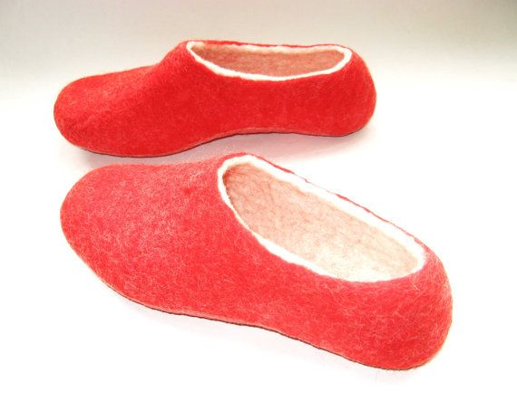 a7f51b1d0 Red white felted wool slippers. $49 Women's size 7 US. Ready to ship ...