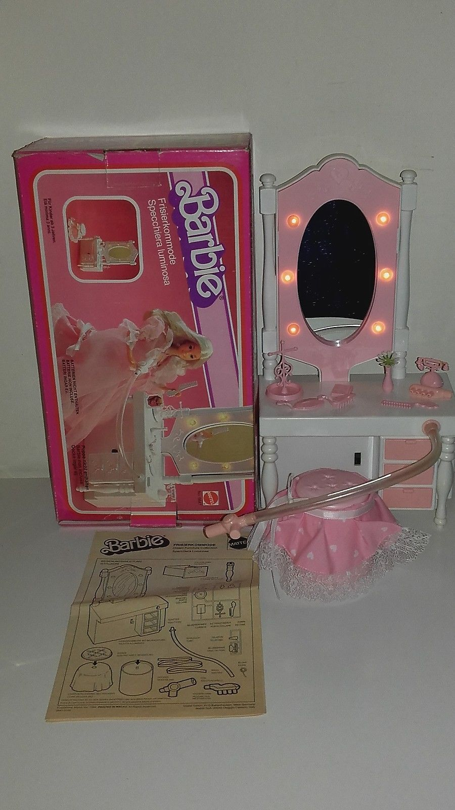 Barbie Bedroom In A Box: BARBIE SPECCHIERA LUMINOSA Mattel 1982 NUOVO IN BOX VANITY