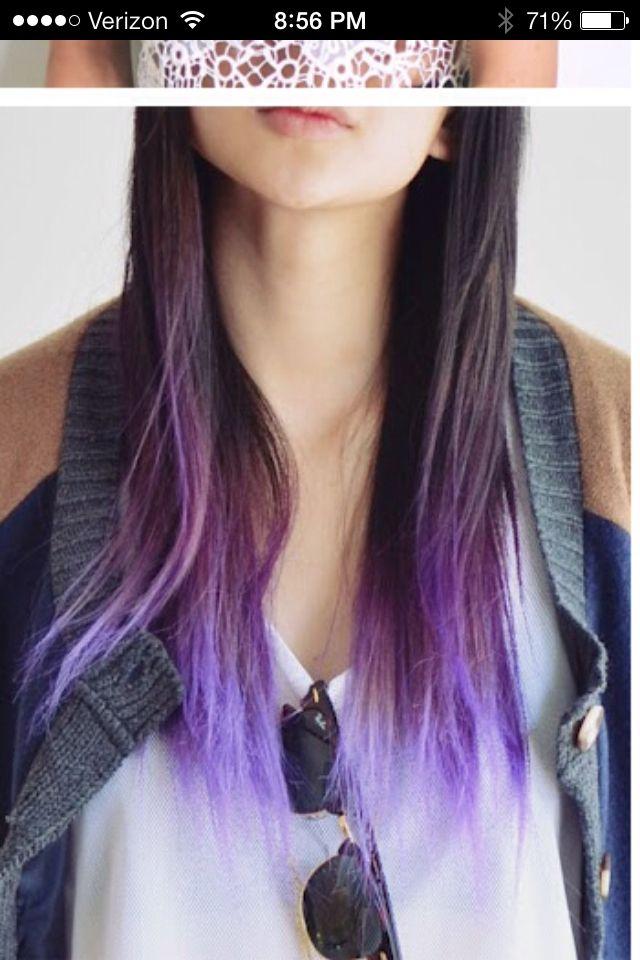 Gorgeous Fading Purple Tips For Dark Hair Hair Pinterest Dark