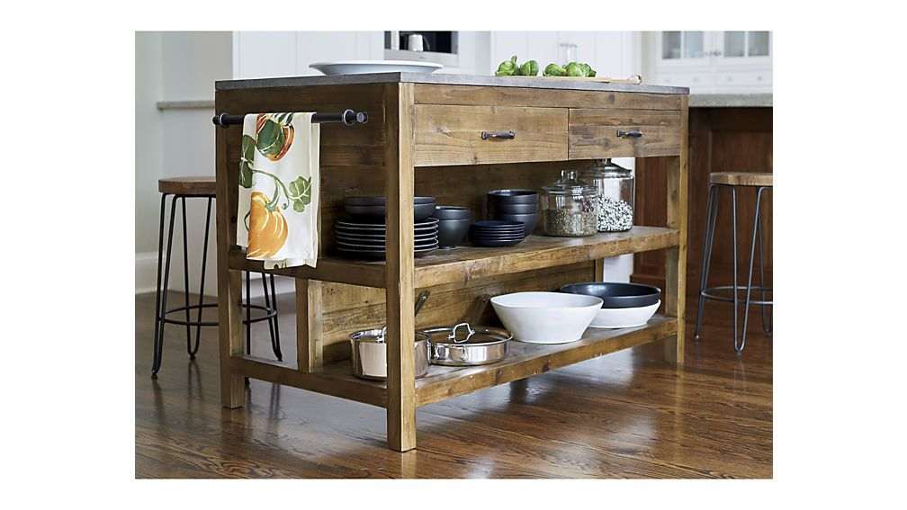 Bluestone Reclaimed Wood Large Kitchen Island Crate And Barrel With Images Wood Kitchen Island Reclaimed Wood Kitchen Island Kitchen Island Design