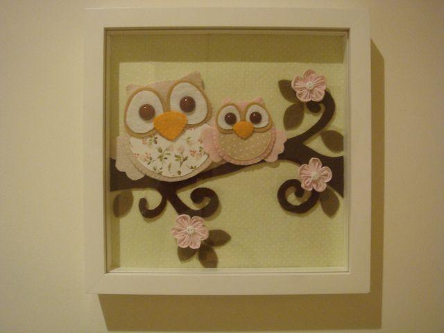 Quadrinho Coruja Felt Owls Box Frame Art Felt Crafts