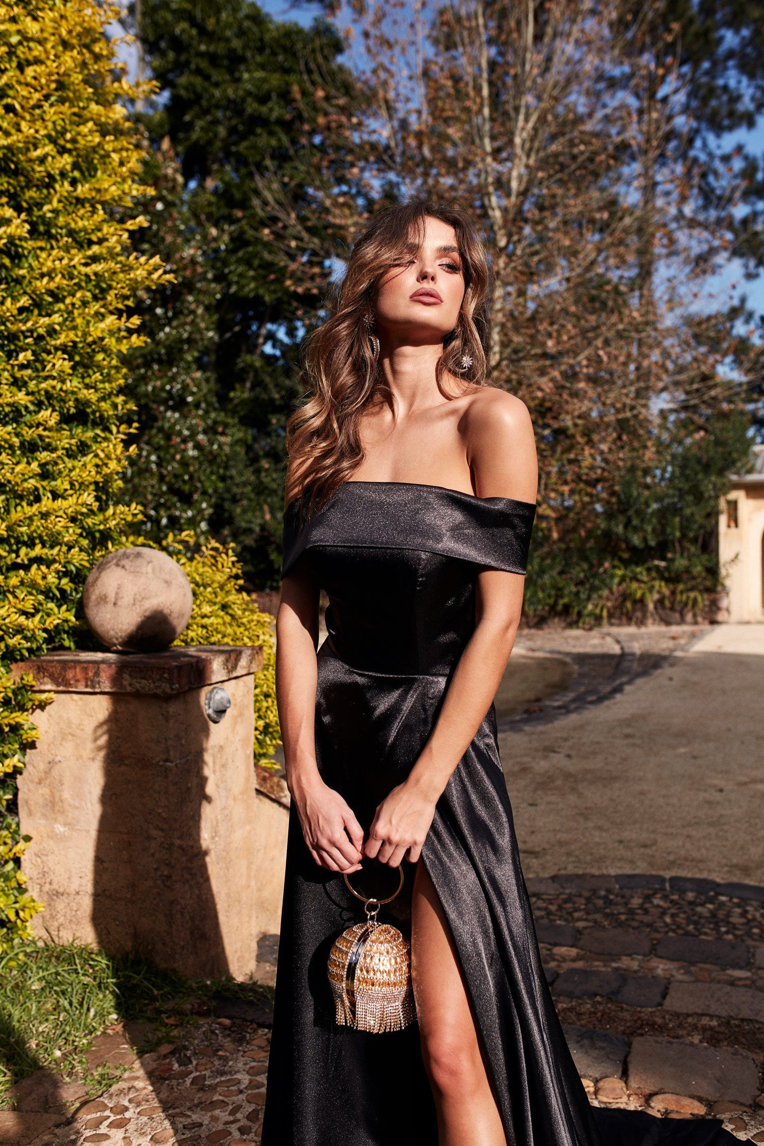 A&N Luxe Valeria Satin Gown – Black
