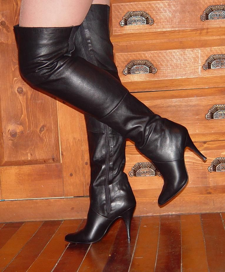 Classic Wild Pair black leather thigh high boots. | Boots