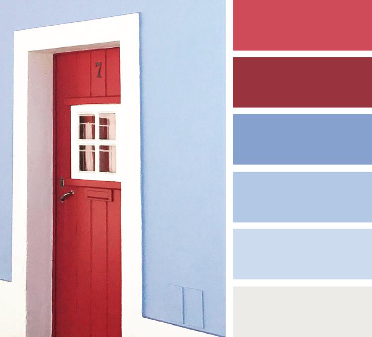 welche farbe passt zu blau und rot Kirschrot Himbeerrot Grauweiß ...
