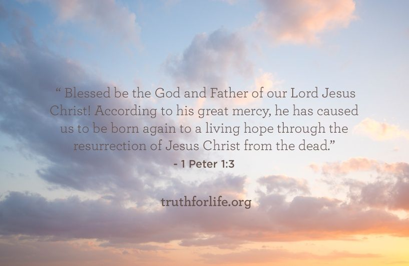 """""""Blessed be the God and Father of our Lord Jesus Christ! According to his great mercy, he has caused us to be born again to a living hope through the resurrection of Jesus Christ from the dead."""" - 1 Peter 1:3"""
