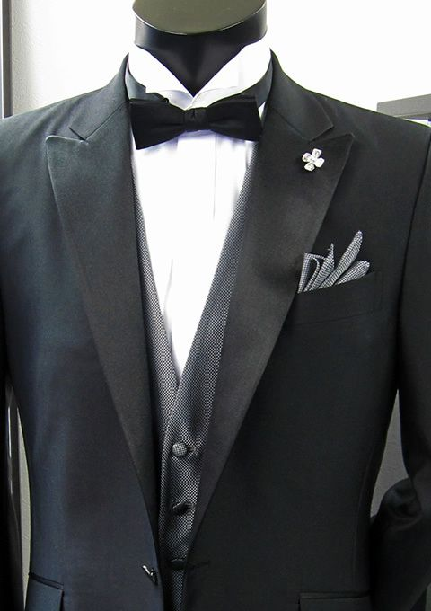 2013 New Designed Peak Lapel Black Tuxedos 100% Wool Gray / Prom ...