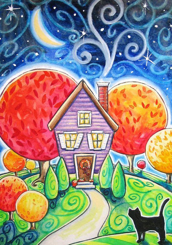 Autumn House  5x7 print  black cat moon stars by BlueLucyStudios,