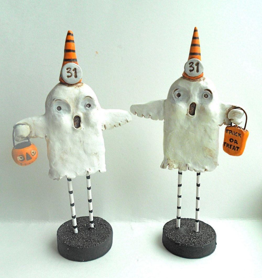 Trick or Treat Halloween Ghost with Pumpkin Bucket Original clay ...