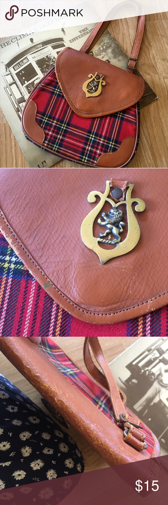 🦁Vintage Plaid Lion Purse🦁 Sweet vintage purse with lots of character! Plaid, hard structured body with leather details and straps. Has a cool brass lion detail. Snaps shut and has two large sections on the inside. Has some visible wear (cracking at leather hinges, small green mark on front leather) all pictured. Still totally functional though! Could probably be restored with some leather polish and TLC. ((NOT MODCLOTH marked for exposure)) (( TAGS: retro, rockabilly, preppy, 60s, 70s…