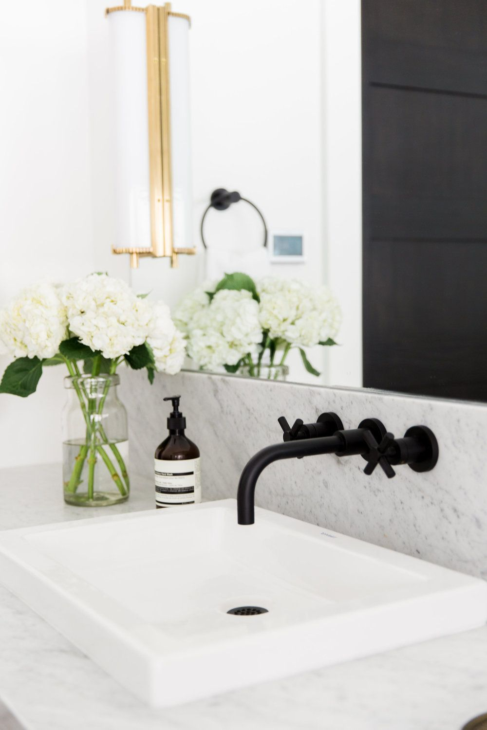 Wall mounted faucets for vessel sinks - Wall Mount Faucet Faucet And Shallow Sink Matte Black Fixtures Studio Mcgee