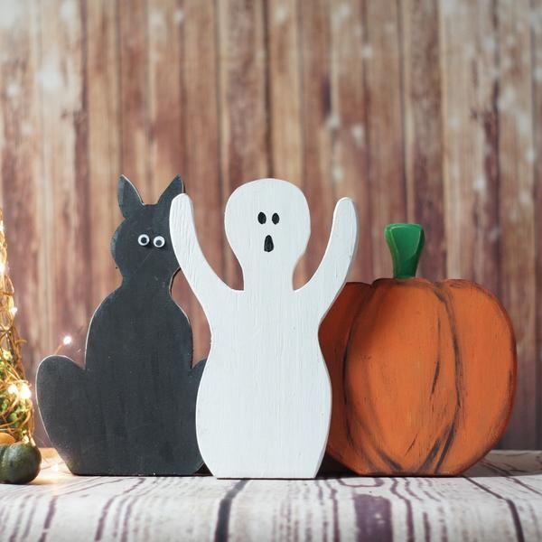 Halloween Black Cat, Pumpkin, Ghost Shelf Sitter-Halloween Decor-GFT