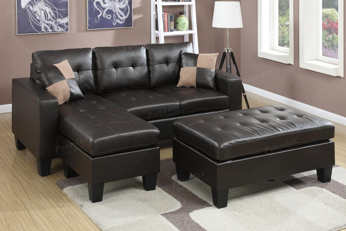 leather sectional sofa and ottoman