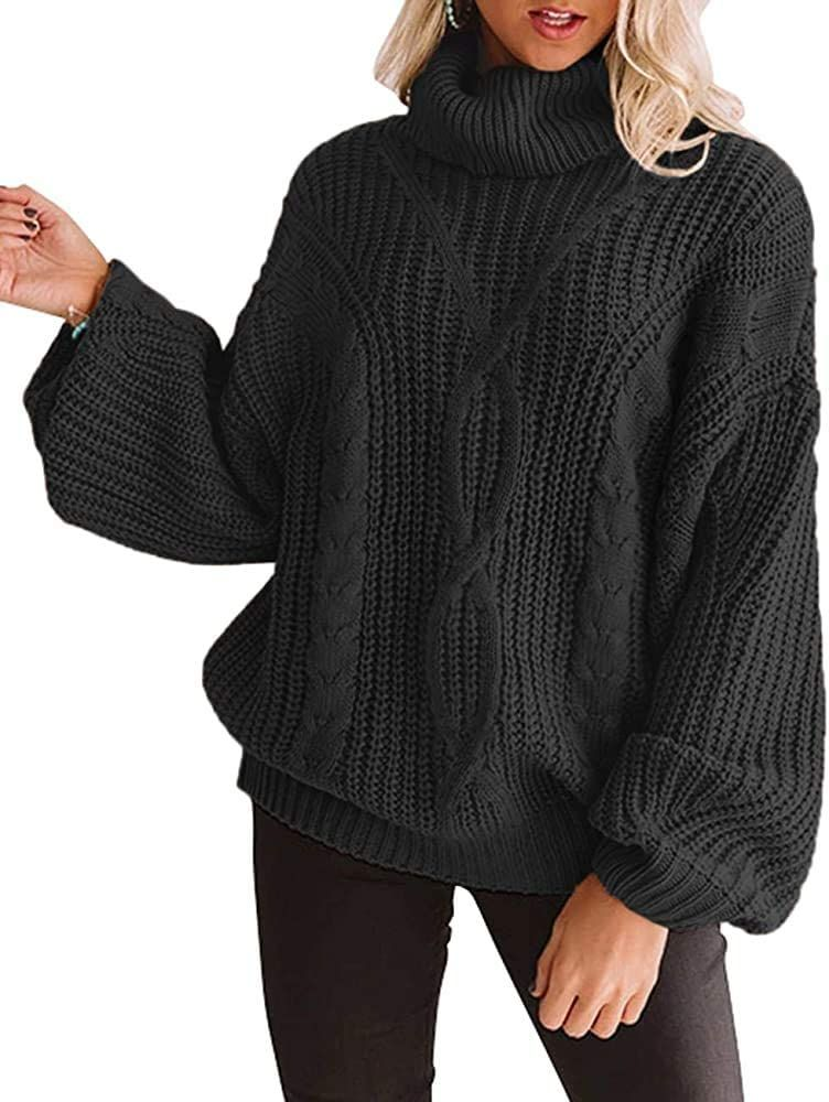YUOIOYU Womens Long Sleeve Turtleneck Sweater Chunky Cable Knit Oversized Pullover Jumper Tops