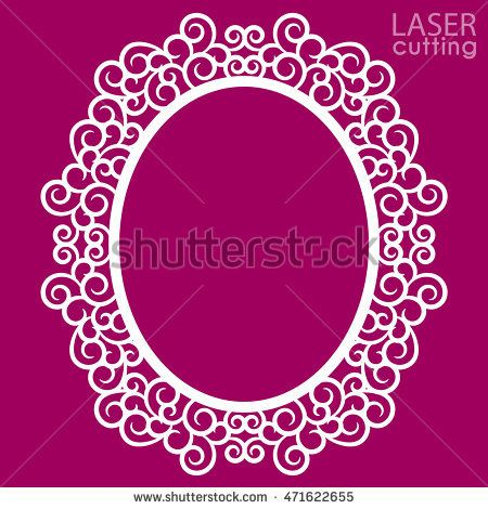 08f729535594 Laser cut vector frame. Abstract oval frame with swirls