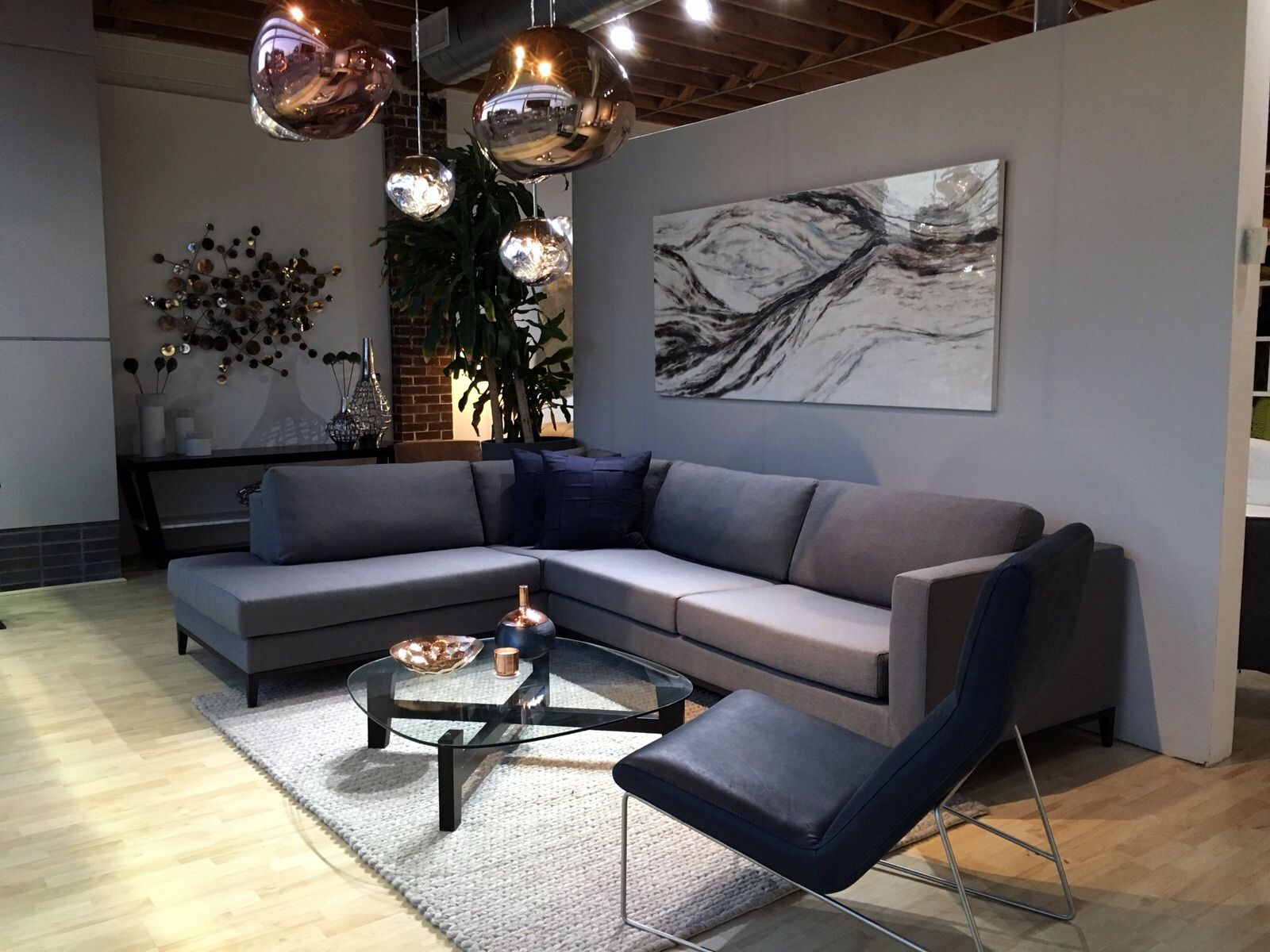 Contemporary living room la roux sofa la roux coffee table pristine chair melt by tom dixon for Modern living room furniture houston tx