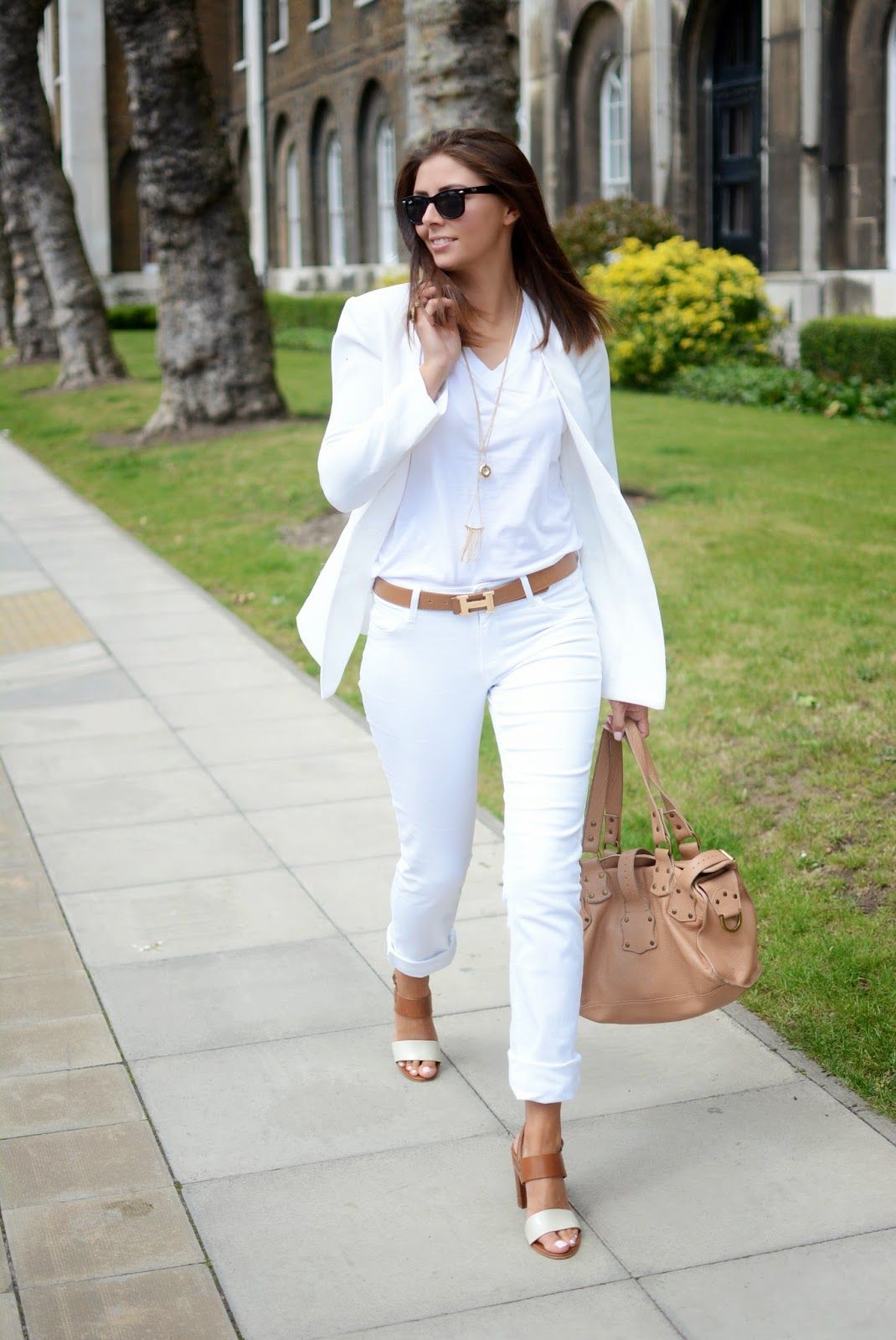 white jeans, white blazer, white t shirt, tan Hermes belt ...