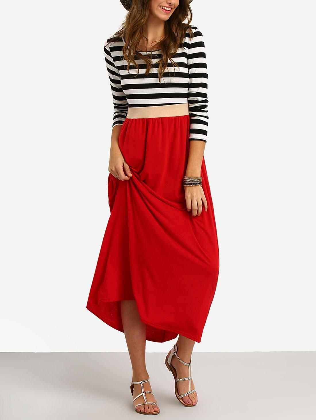 Adorewe shein sheindesigner womens contrast striped in