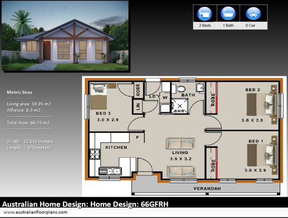 66 5m2 3 Bed small house plan 3 by AustralianHousePlans