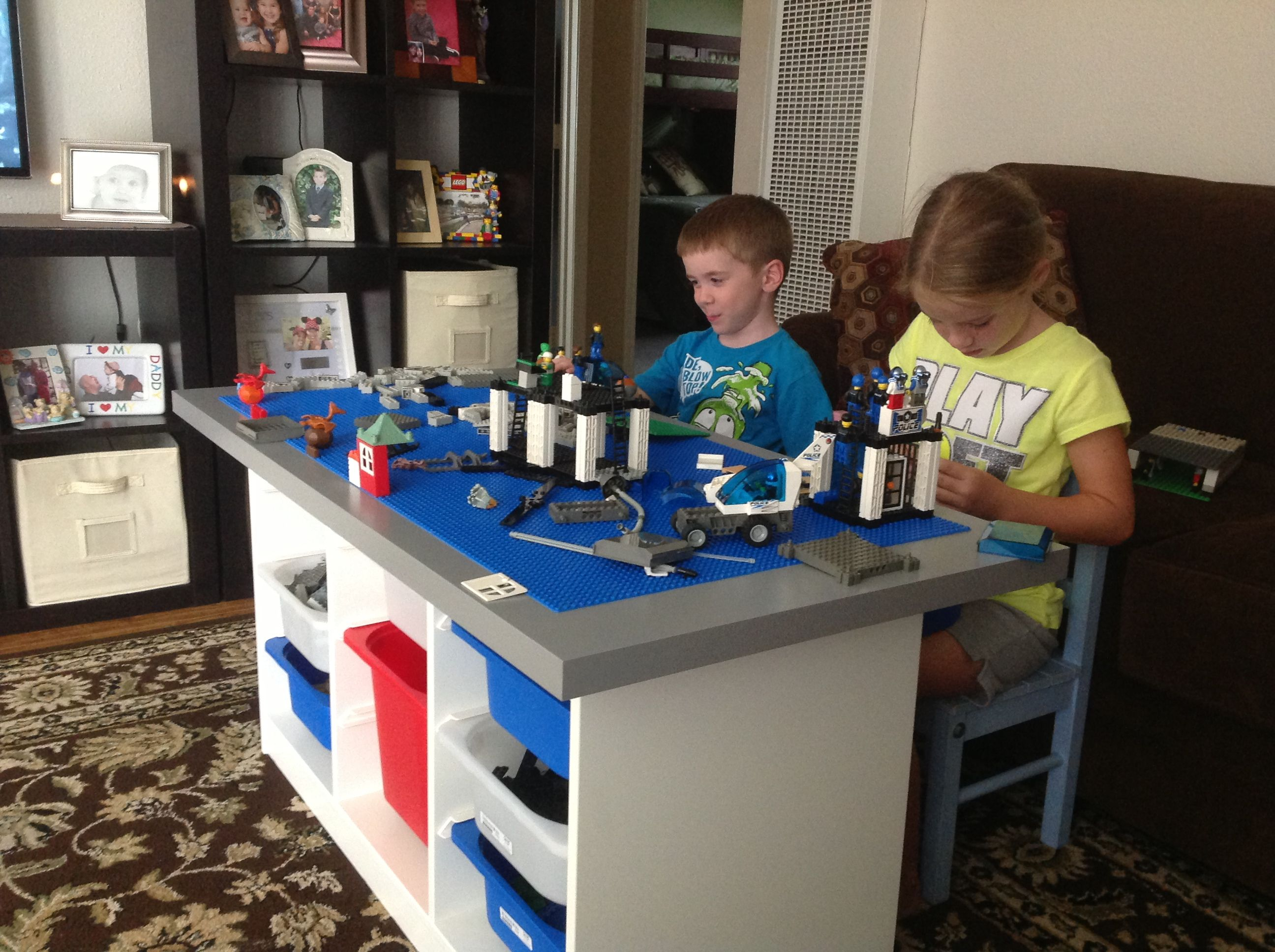 lego table made from ikea i purchased the trofast white unit for the gray table. Black Bedroom Furniture Sets. Home Design Ideas