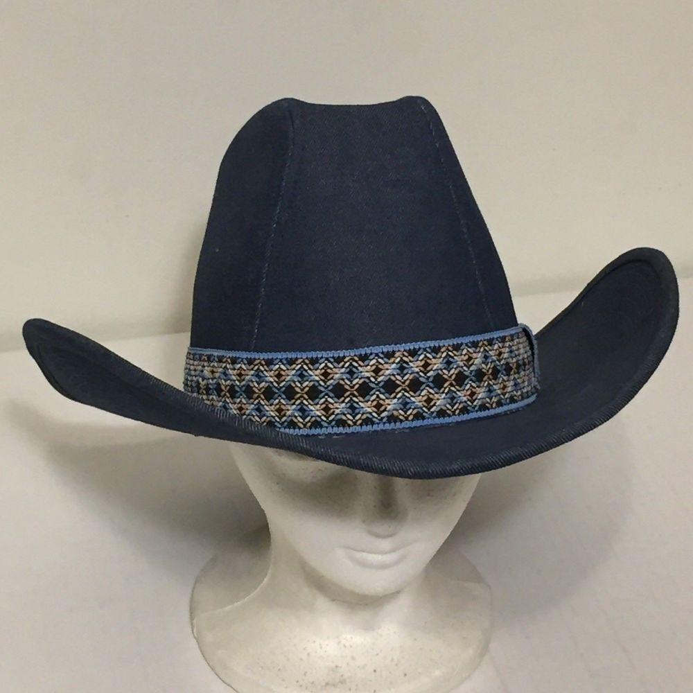 fcfbba17715cf Vintage 1970s Denim Cowboy Hat Blue Medium 7-7 1 8 Colorful Band YR Western  Jean  fashion  clothing  shoes  accessories  vintage  vintageaccessories  (ebay ...